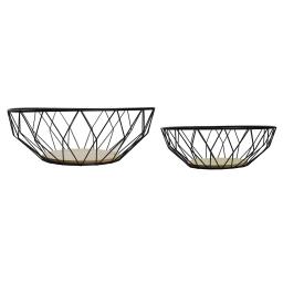 2 panieres 2 tailles assorties bois+metal cosy loft Noir