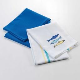 2 torchons 50 x 70 cm coton brode/uni blue lagoon