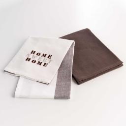 2 torchons 50 x 70 cm coton brode/uni esprit d'antan