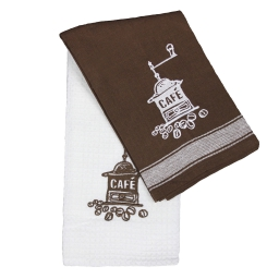 2 torchons 50 x 70 cm coton tisse/nid abeille brode 8713 moulin a cafe Choco