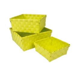 3 paniers tresses 21.5 x 21.5 x 9 cm plastique vitamine Anis