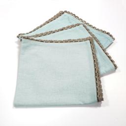 3 serviettes de table 40 x 40 cm coton uni+dentelle femina Bleu