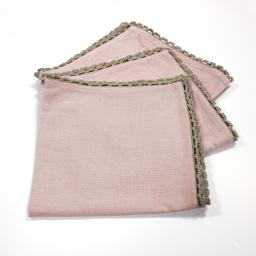 3 serviettes de table 40 x 40 cm coton uni+dentelle femina Dragee