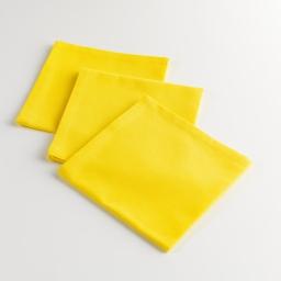 3 serviettes de table 40 x 40 cm coton uni jardin Jaune