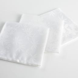 3 serviettes de table 40 x 40 cm jacquard damasse floralie Blanc
