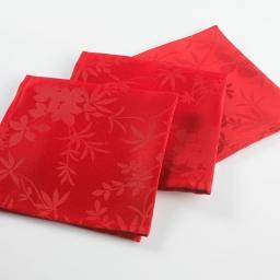3 serviettes de table 40 x 40 cm jacquard damasse floralie Rouge