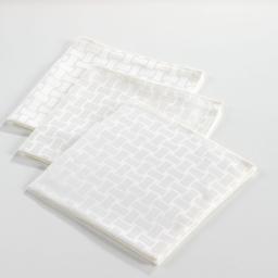 serviette de table jacquard damasse blanc x 3