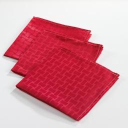 3 serviettes de table 40 x 40 cm jacquard damasse maillon Rouge