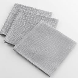 3 serviettes de table 40 x 40 cm jacquard damasse serpentile Argent