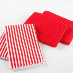 3 torchons 40 x 40 cm microfibre cuistot  2 unis/1 raye Rouge