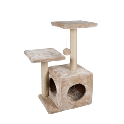 arbre a chat avec niche + 2 plates-formes h60cm*base 35*27cm