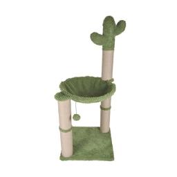 Arbre a chat cactus avec jouet et hamac polyester/jute 40*40*96cm Vert