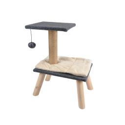 Arbre a chat feutrine sur pieds en bois avec jouet chat expert- 55,5cm Gris