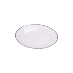 assiette creuse en porcelaine - dessin filet argente - 24cm