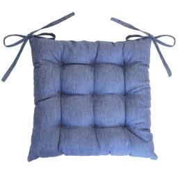 Assise matelassee 40 x 40 cm chambray uni newton Bleu