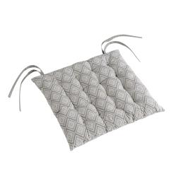 Assise matelassee 40 x 40 cm coton imprime trikala Gris