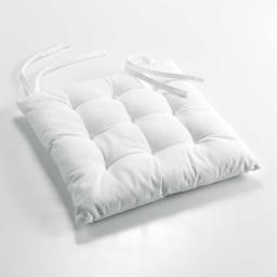 Assise matelassee 40 x 40 cm coton uni charline Blanc