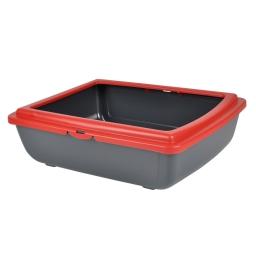 bac a litiere en plastique + rebord rouge 46*36*h.12cm