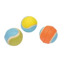 balles de tennis pour chien en caoutchouc + polyester - 3 coloris assortis ø7cm