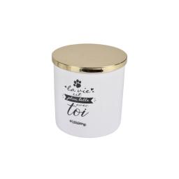 Boite a friandise ceramique la belle vie o13,5*14cm  dore Blanc