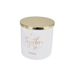 Boite a friandise ceramique together o13,5*14cm  dore Blanc
