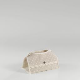Boite a mouchoirs 26 x 15 cm x ht 6 cm polycoton imprime alicia Lin/Blanc