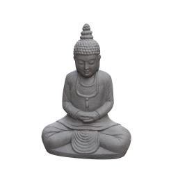 bouddha assis en fiber clay h.52cm gris