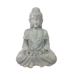 bouddha assis en magnésie h42cm coloris blanc
