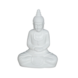 bouddha fiber clay laque h55cm white