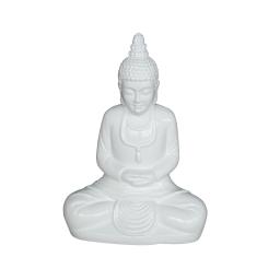 bouddha fiber clay laque h55cm white