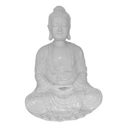bouddha polyresine 24.5*23.5*h35.5cm blanc