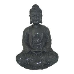 bouddha polyresine 24.5*23.5*h35.5cm gris