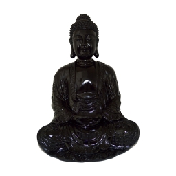 bouddha polyresine 24.5*23.5*h35.5cm noir