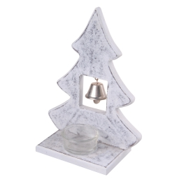 bougeoir bois - design sapin - blanc - ht19.5*14.5cm