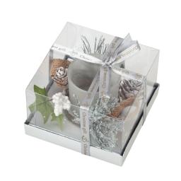 bougeoir decore en verre-couleur blanche- l11,5 *11,5*h7,cm