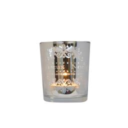 bougeoir en verre-argent-t-light non incluse-h7*d6cm