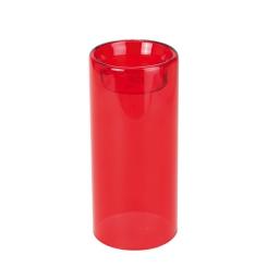 bougeoir en verre-couleur rouge- d6*h13cm