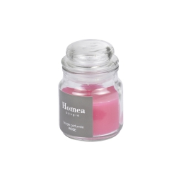bougie bocal ø6*h.9cm essentiel parfum rose