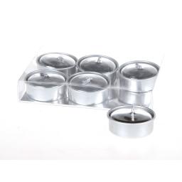 bougie chauffe plat metallisee argent- ø3.8cm - set de 6pcs