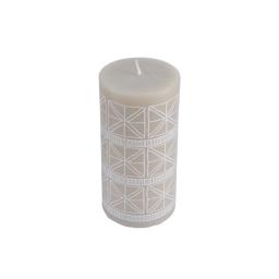 Bougie pilier ø6*h8cm ethnic folk coloris Blanc