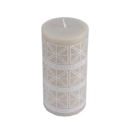 Bougie pilier ø7*h14cm ethnic folk coloris Blanc