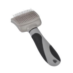Brosse carde a manche ergonomique soin expert 19cm gris noir Gris / Noir