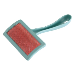 brosse pour chien en plastique + picots en inox  incurve gm 20cm