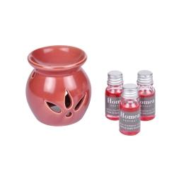 brule-parfum ceramique + inclus 3 bouteilles de 10ml parfum elixir de baies rg