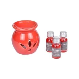 brule-parfum ceramique + inclus 3 bouteilles de 10ml parfum nectar de grenade
