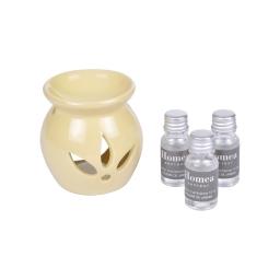 brule-parfum ceramique + inclus 3 bouteilles de 10ml parfum poudre de jasmin