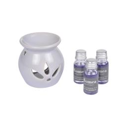 brule-parfum ceramique + inclus 3 bouteilles de 10ml parfum violettes impériales