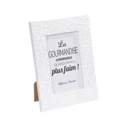 """cadre pp """"la gourmandise"""" 13*18cm geometrique blanc -"""