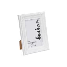 """cadre pp """"un soupcon de bonheur"""" 10*15cm baroque blanc - en display de 12"""