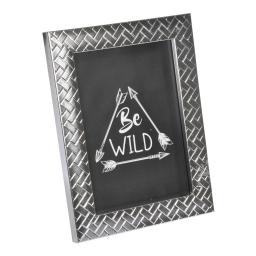 """cadre ps """"be wild"""" 24*30cm tressé argent - en display de 12"""
